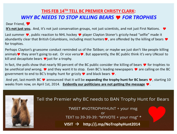 How to Communicate Effectively to Premier Clark and ask her to Stop the Senseless Killing of Bears for Trophies in BC