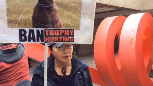 Video:Protesters gathered Friday outside the Vancouver Law Courts while a judge heard arguments in NHLer Clayton Stoner trial for hunting a grizzly bear.